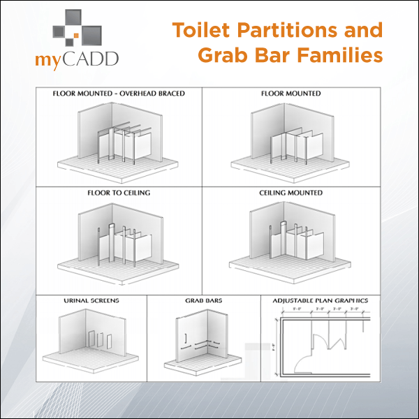 Revit Toilet Partitions & Grab Bar Collection - myCadd